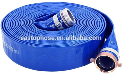 Selang Air Flexibel Flat Hose eastops hose or yellow or blue color pvc heavy duty layflat discharge hose or agriculture