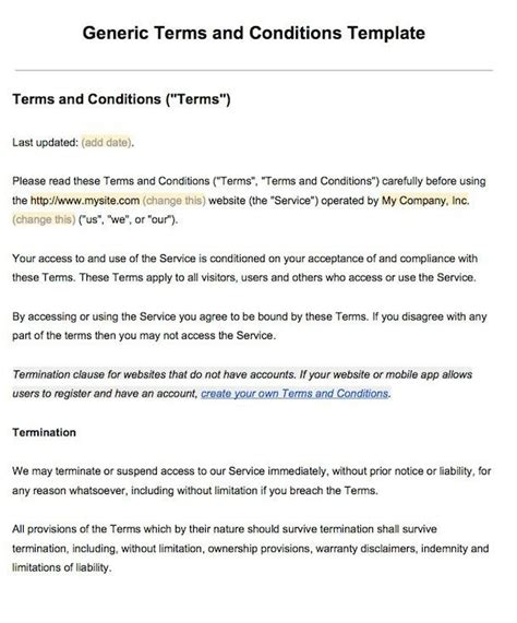 basic terms and conditions template sle terms and conditions template termsfeed