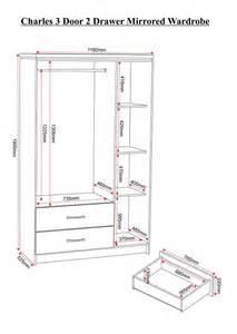 wardrobes charles 3 door 2 drawer mirrored wardrobe in