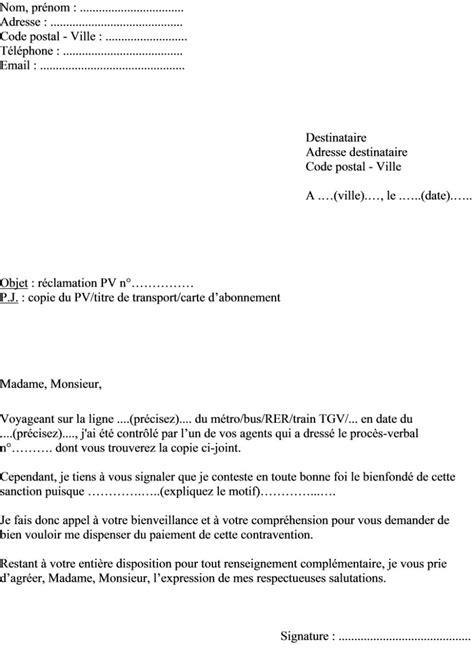 Exemple De Lettre Reclamation Mod 232 Le De Lettre R 233 Clamation Contravention Sncf Ou Ratp Actualit 233 S Informations Pratiques