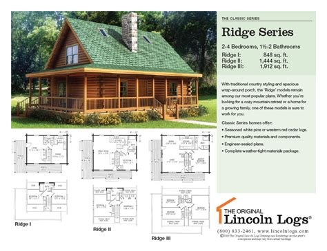 log home floorplan ridge series the original lincoln logs
