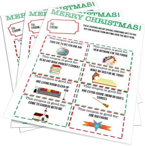 christmas gift coupons parents from kids children s