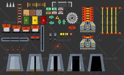 outerspace headquarter platformer game tileset game art