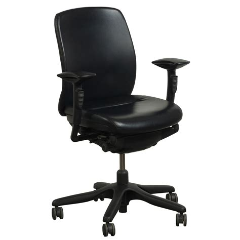 Leather Task Chair by Teknion Amicus Synchro Used Pu Leather Task Chair Black