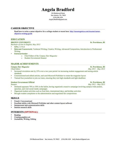 Resume Exle For College Student In No Experience Education Section Resume Writing Guide Resume Genius