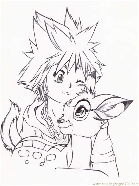 Sora And Bambi By Ring A Ling Coloring Page Free
