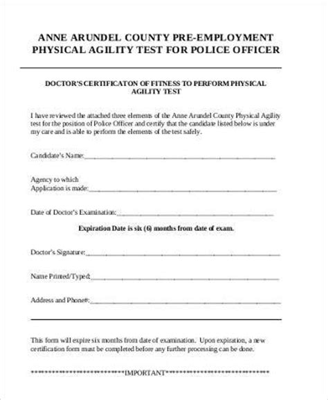Sle Pre Employment Physical Forms 7 Free Documents In Pdf Physical Form For Work Template