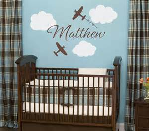 Baby Boy Room Wall Stickers Airplane Wall Decals Airplane Cloud And Personalized By