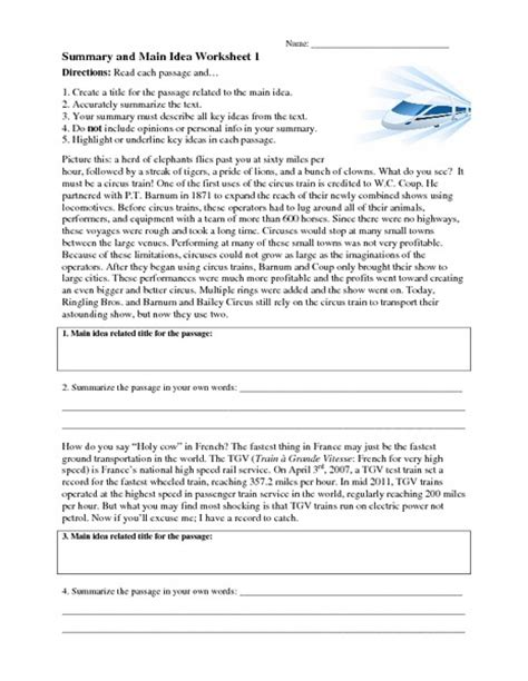 Summary And Idea Worksheet 1 Answers printable idea worksheets 8th grade idea