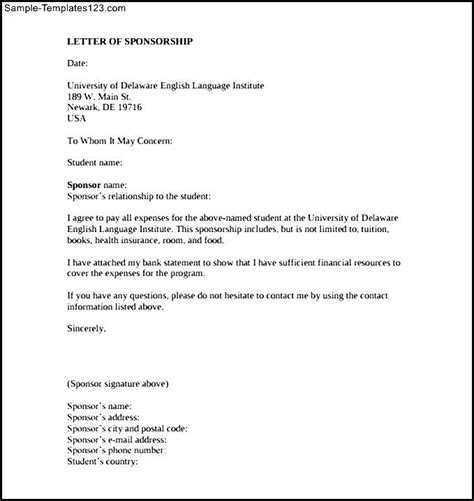Sponsorship Letter How To Write Sponsorship Letter Template For Education Printable Sle Templates
