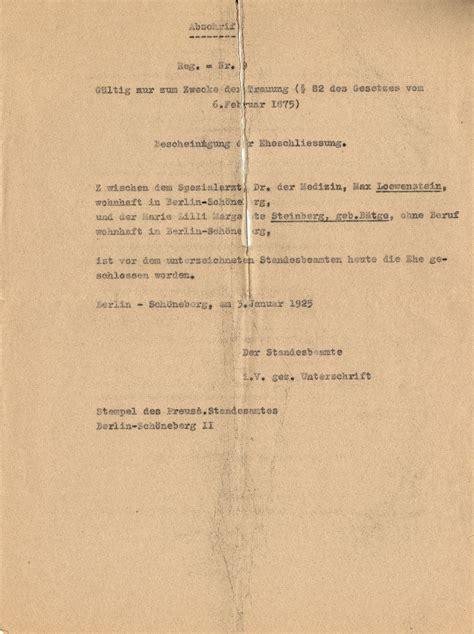Germany Marriage Records Transcript Of Max Loewenstein And Steinberg S