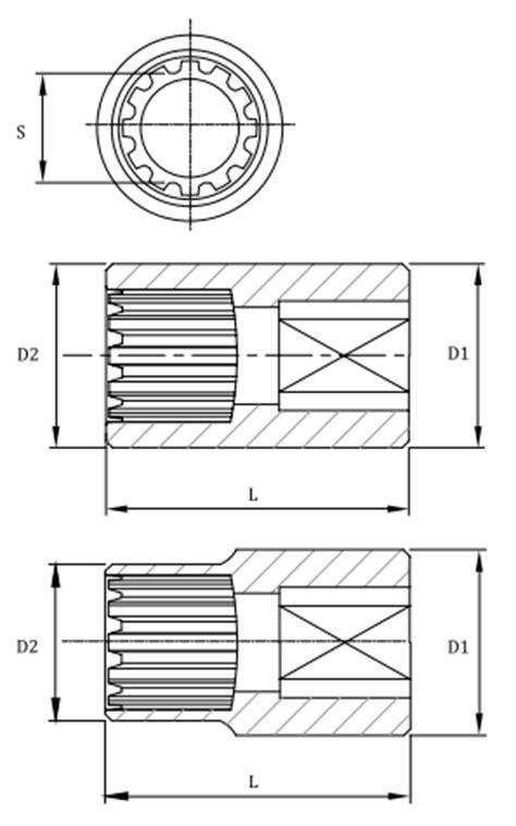 Tekiro Spline Socket 1 2 Inch 27 Mm Mata Sock Spline 1 4 3 8 1 2 spline socket for sae and metric