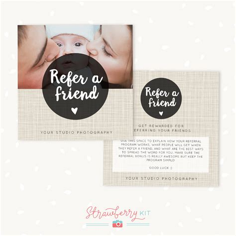 referral card template photography referral cards photoshop template strawberry kit