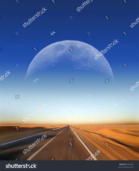 driving on the moon books fast driving on desert highway with moon in the background