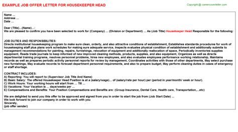 Offer Letter For Housekeeping apartment housekeeper offer letters