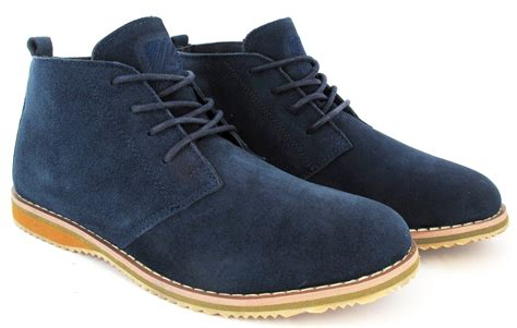 mens suede casual lace up fashion boots leather suede