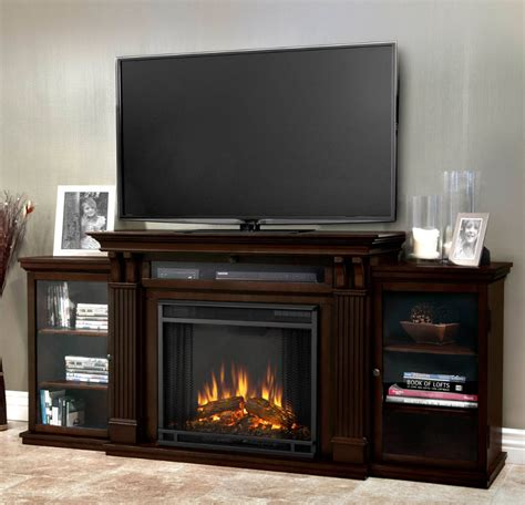 67 quot walnut entertainment center electric fireplace