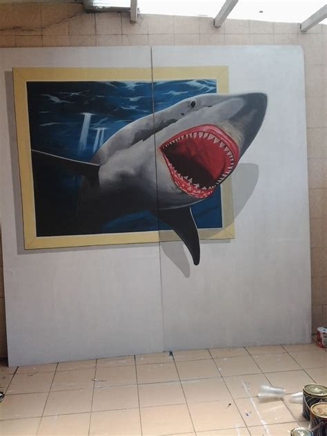 Frame 3d Bingkai Pigura 25x25x5cm taking picture together with shark coming out from painting frame 3d trick jakarta imural