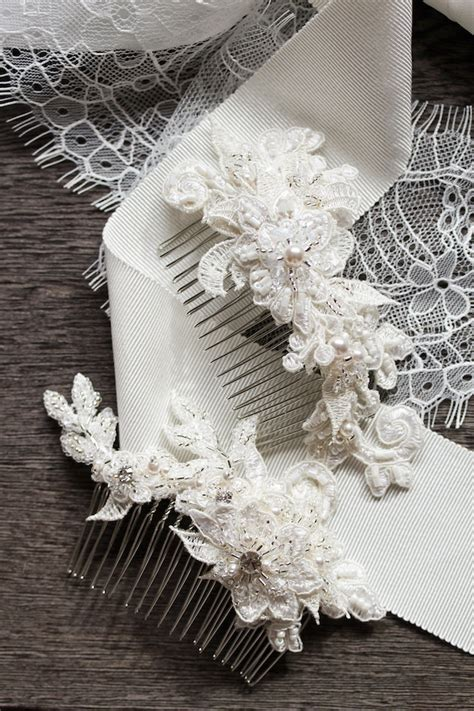 Percy Handmade - details small lace bridal hair combs percy