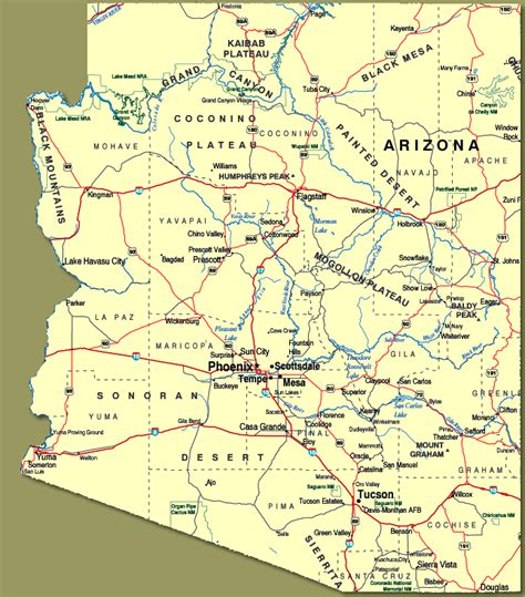 state map of arizona with cities show me arizona towns