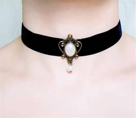 Black Pearl Lace Chocker 8211 black lace choker velvet pearl necklace ribbon choker