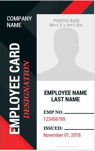 pictureless i d card templates free 10 amazing employee vertical size id cards for free