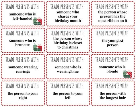 printable christmas exchange games white elephant gifts round 2 and some game ideas