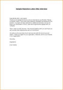 Thank You Letter After Interview Rejection How To Write A Rejection Letter For Job Applicant Cover