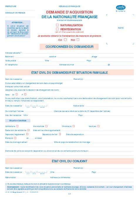 Demande De Naturalisation Lettre Type Demande D Acquisition De La Nationalit 233 Fran 231 Aise Formulaire Cerfa Documentissime
