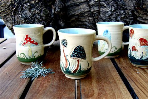 unusual mugs unique coffee mugs ceramic mugs mushroom coffee mug set