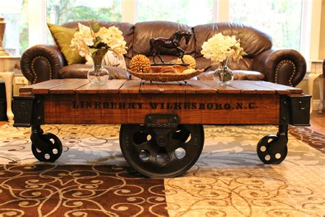 Railroad Cart Coffee Table by Vintage Restored Lineberry Factory Cart Coffee Table