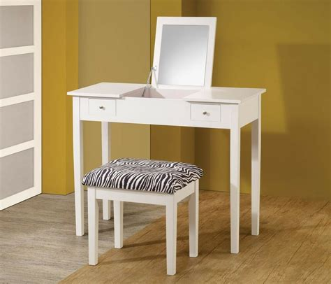 Vanity With Stool by Contemporary White Vanity With Flip Top Mirror Dressing