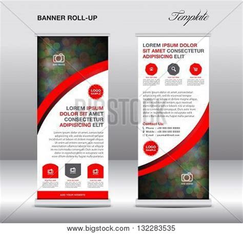 roll up stand design templates blue roll banner stand vector photo bigstock