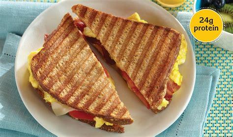 protein 2 slices bacon scrambled eggs bacon tomato panini egg