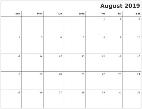 More Calendars October 2019 Word Calendar