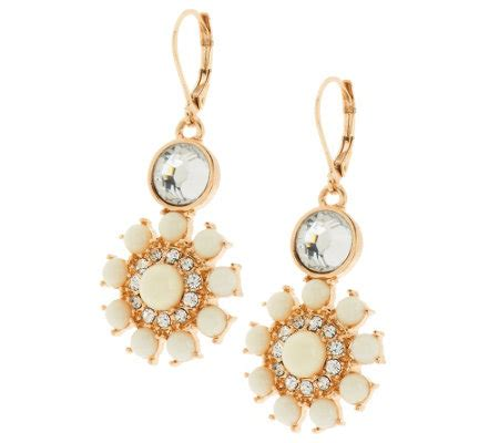 susan graver floral cabochon statement earrings in