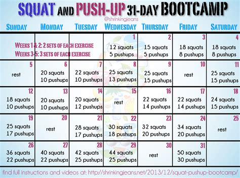 squat push up bootc monthly workout calendar
