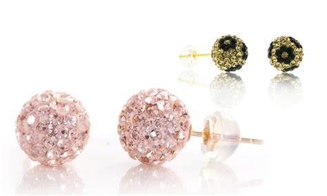 Swarovski Elements Stud Earring 14k gold swarovski elements stud earrings groupon