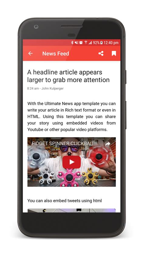 The Ultimate News App Template By Neurondigital Codecanyon App Review Template