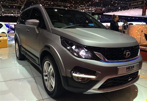 new tata car tata aria based hexa suv unveiled at 2015 geneva motor
