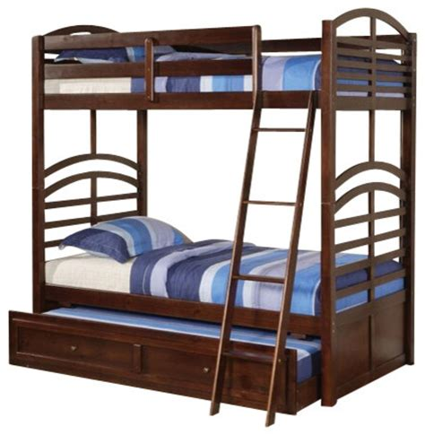 pull out bunk bed kevin espresso finish wood bunk bed set with pull out trundle contemporary