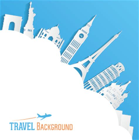 classic buildings with travel background vector 04 free