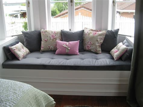 awesome bay window sofa  gray color  gray cushions