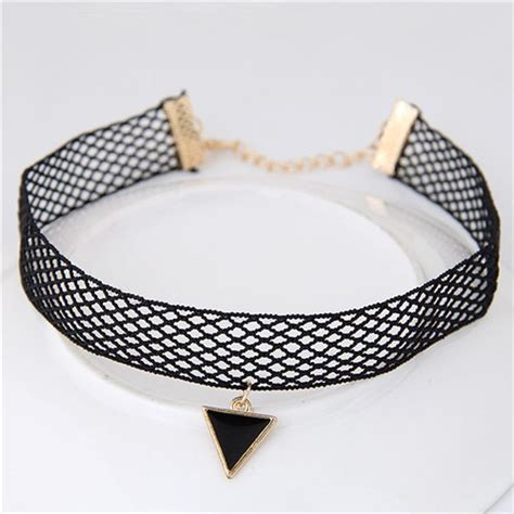 Kalung Korea Choker Decorated Hollow Out Design hollow out design triangle pendant fashion lace choker necklace