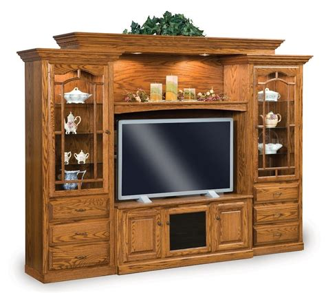 wall units amish tv entertainment center solid oak wood media wall