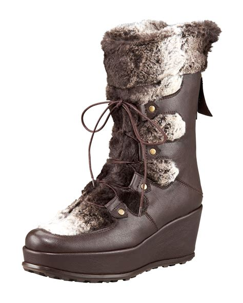 stuart weitzman faux fur trimmed wedge boot in brown lyst