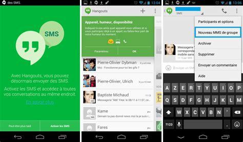 android hangouts hangouts 2 0 122 l int 233 gration des sms est au rendez vous