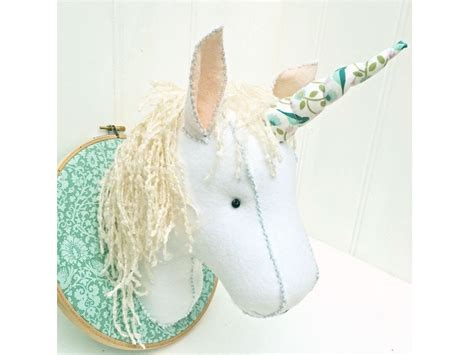 pattern unicorn head faux taxidermy felt unicorn head pattern pdf instant download
