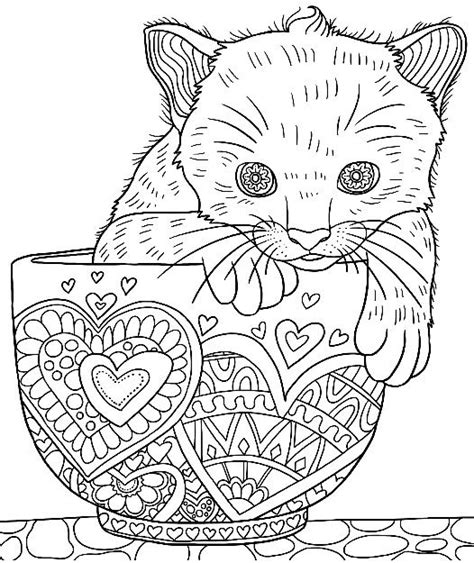 cat coloring sheets kitten in a cup colouring page colormatters
