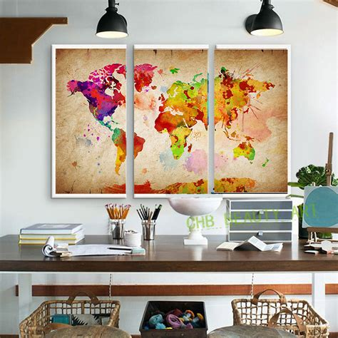 watercolor room 3 pieces canvas wall canvas painting world watercolor map landscape wall pictures for living